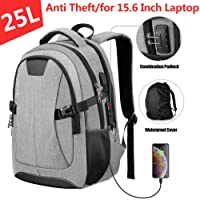 PICTEK Laptop Backpack 15.6 inch with USB Charging Port and Rain Cover, Anti-Theft 25L Travel Backpacks for Men with Thicken Pad, Perfect for Travel, School, Business Trip