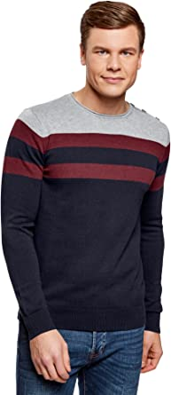 oodji Ultra Mens Striped Straight-Fit Pullover