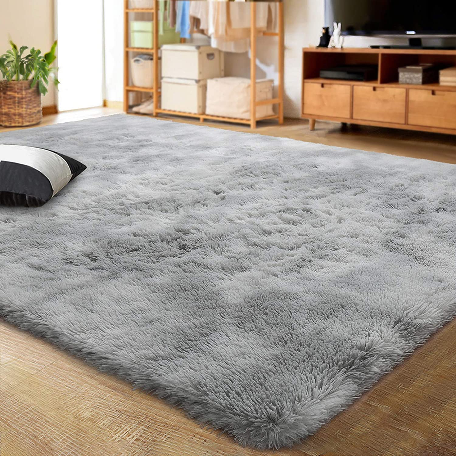 Lochas Luxury Velvet Shag Area Rug Modern Indoor Fluffy Rugs Extra Comfy And Soft Carpet Abstract Accent Rugs For Bedroom Living Room Dorm Home Girls Kids 5x8 Feet Light Gray Kitchen
