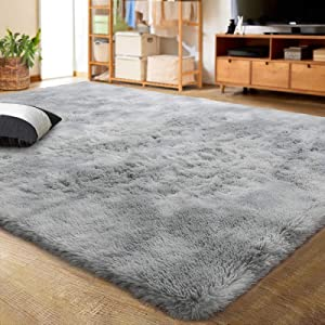 LOCHAS Luxury Velvet Shag Area Rug Modern Indoor Fluffy Rugs, Extra Comfy and Soft Carpet, Abstract Accent Rugs for Bedroom Living Room Girls Kids Dorm Home Decor, 5x8 Feet Light Gray