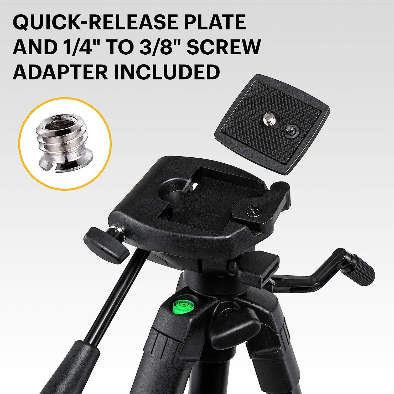 "1//4/"" to 3//8/"" Screw Adapter Bubble Level /& Carry Case KODAK PhotoGear 62 Lightweight Tripod w//E-Guide Compact 3-Section Flip-Lock Aluminum Tripod Adjusts 22/""-62/"" 3-Way Head QuickRelease Plate"