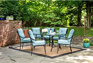 Hanover LAVDN7PC-BLU-P, 6 Chairs and Rectangle Table, Blue Lavallette 7-Piece Outdoor Patio Dining Set, Ocean Cushions
