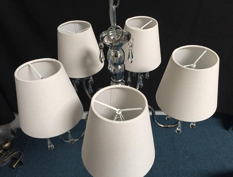Blanc Lot de 6 Pi/èces Abats-jour de Lampe en Tissu pour Lustre de Bougeoir