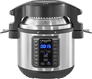 Crock-pot SCCPPA800-V1 Express Crisp 8-Quart Pressure Cooker Includes Air Fryer Lid, Stainless Steel