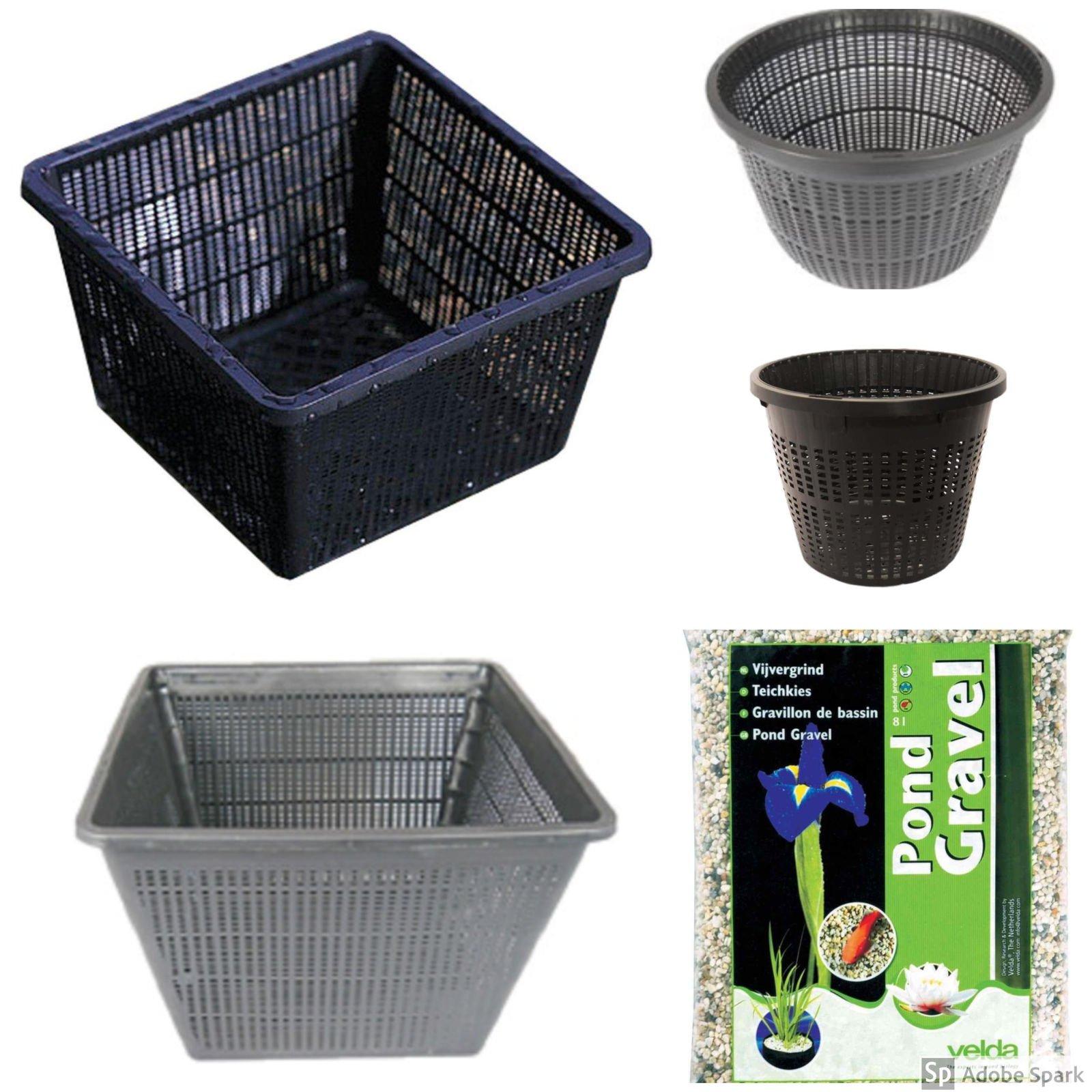 Large Pond Planting Basket Kit, Includes 8 Large Sized Baskets and Pond Gravel