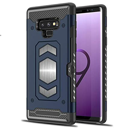 the best attitude 7b535 ad801 Galaxy Note 9 Case: Full Body Armor Note 9 Case: Samsung Galaxy Note 9 Card  Holder/Slot - Magnetic car Mount (Blue- Note 9)