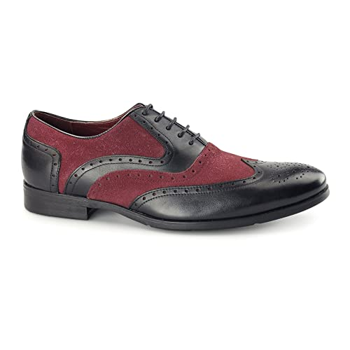 f57dfc03908 Azor MILLER Mens Leather Oxford Brogues Black Burgundy  Amazon.co.uk ...