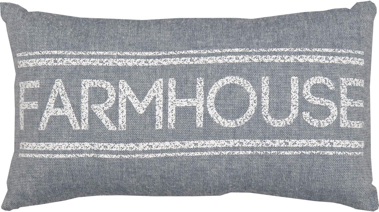 """VHC Brands Denim Blue Sawyer Mill Farmhouse Pillow 7"""" x 13"""" Small Throw Pillow"""
