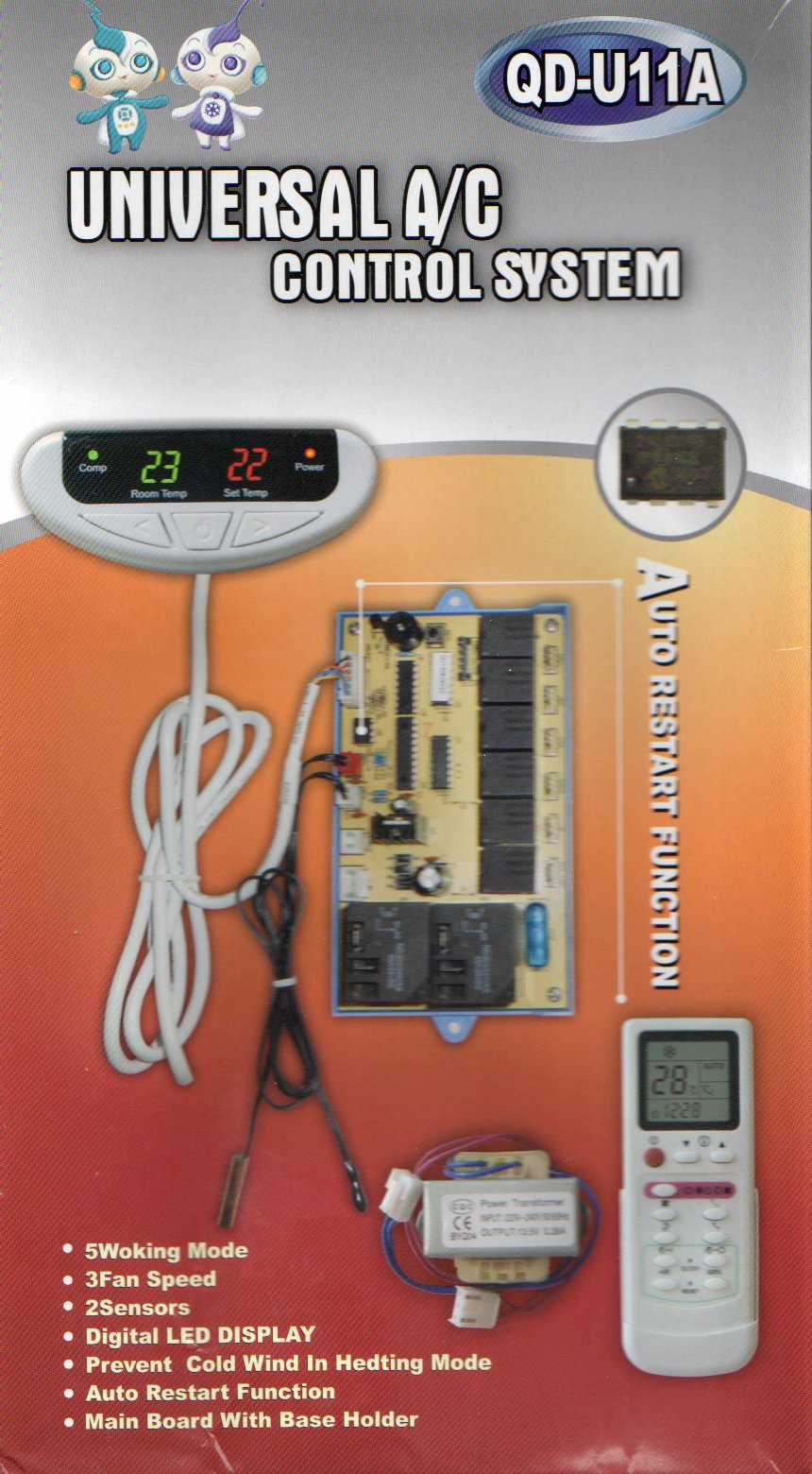 Universal AC Control System Kit with Wireless Remote & Sensors