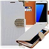 Luxus Strass Handy Tasche Schutz Hülle für Sony Xperia Z / L36H Weiss Book-Style Leder Etui Glitzer Case Cover Bag