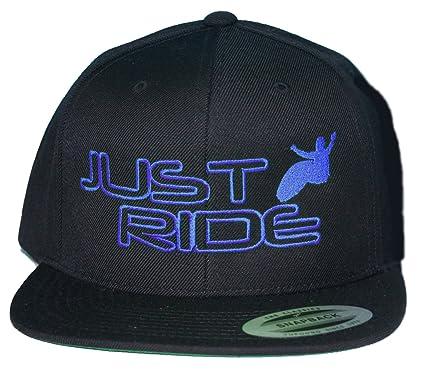 b314ba21cdb JUST RIDE Wake Surf Wakeboard Hat Flat Bill Snapback (Blue) at ...