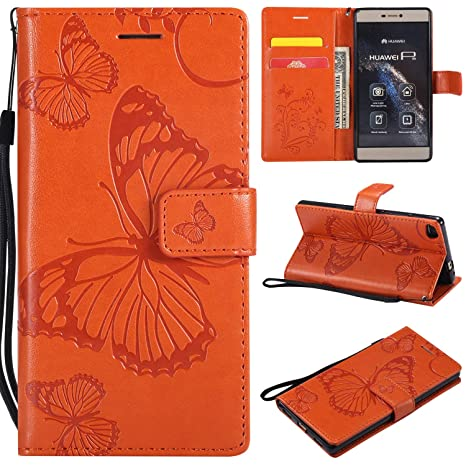 Amazon.com: Anzeal Huawei P8 Funda, [Butterfly Embossing ...