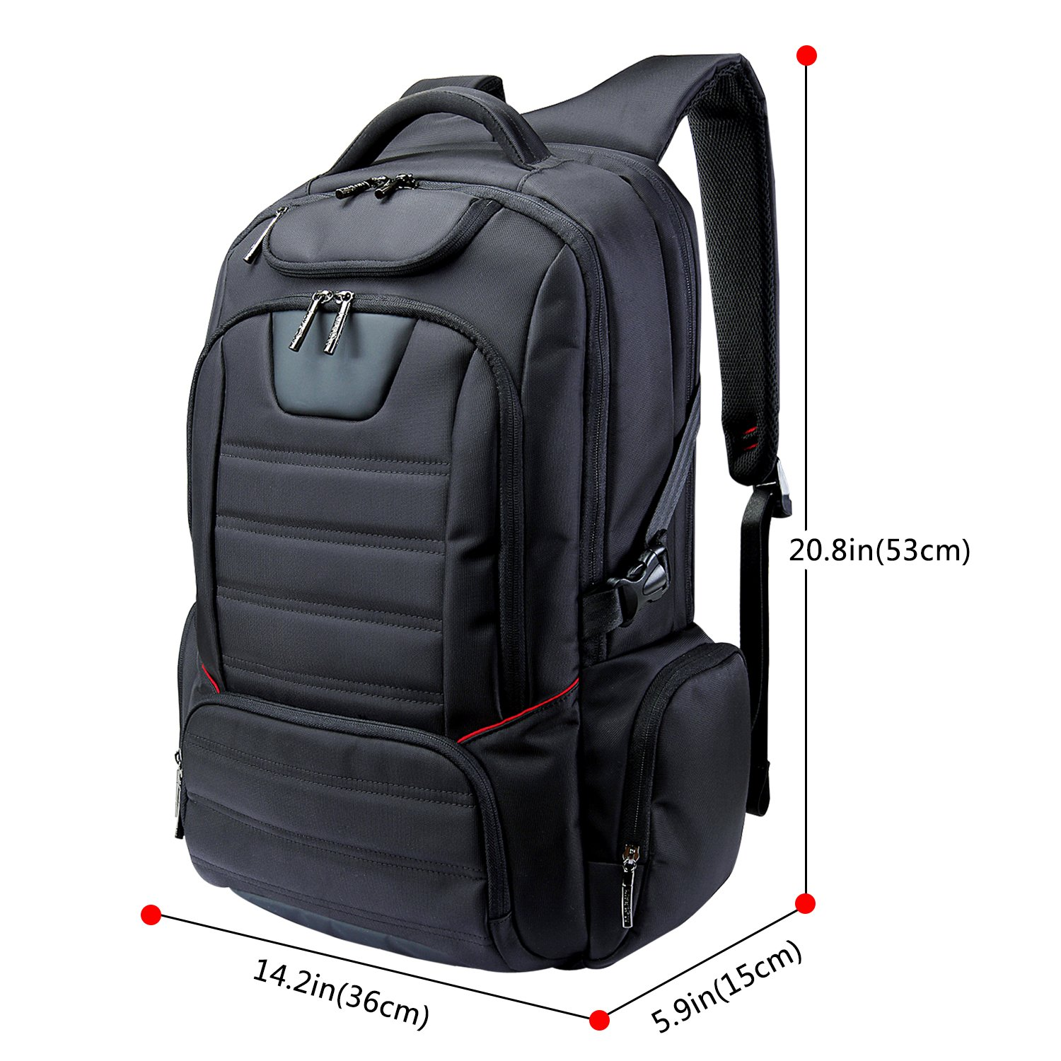"""Lifewit Men Large Laptop Backpack Water Resistant Travel School Business College Computer Bag Carry-on Fits Up to 17.3-18.4 Inch, Black (18.4"""" Black) by Lifewit (Image #2)"""