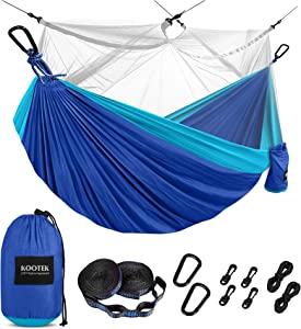 Kootek Camping Hammock with Mosquito Net Double & Single Portable Hammocks Parachute Lightweight Nylon with Tree Straps for Outdoor Adventures Backpacking Trips