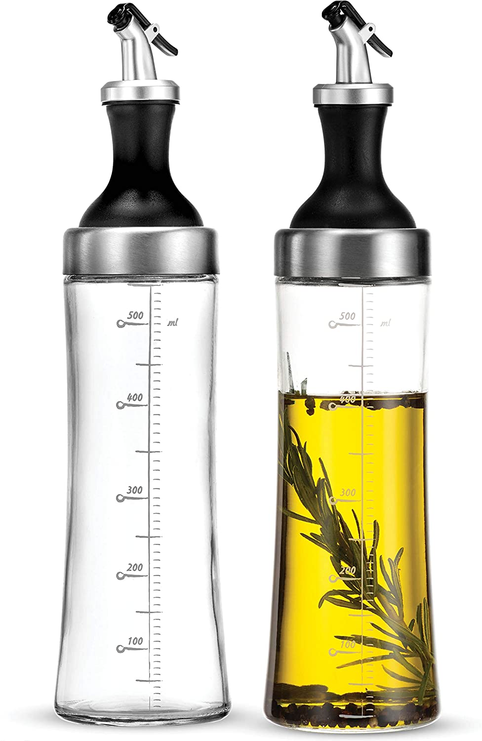 Superior Glass Oil and Vinegar Dispenser, (set of 2) Modern Olive Oil Dispenser, Wide Opening for Easy Refill and Cleaning, Clear Lead Free Glass Oil Bottle, Pouring Spouts, 18 Oz. Cruet Set: Home Improvement