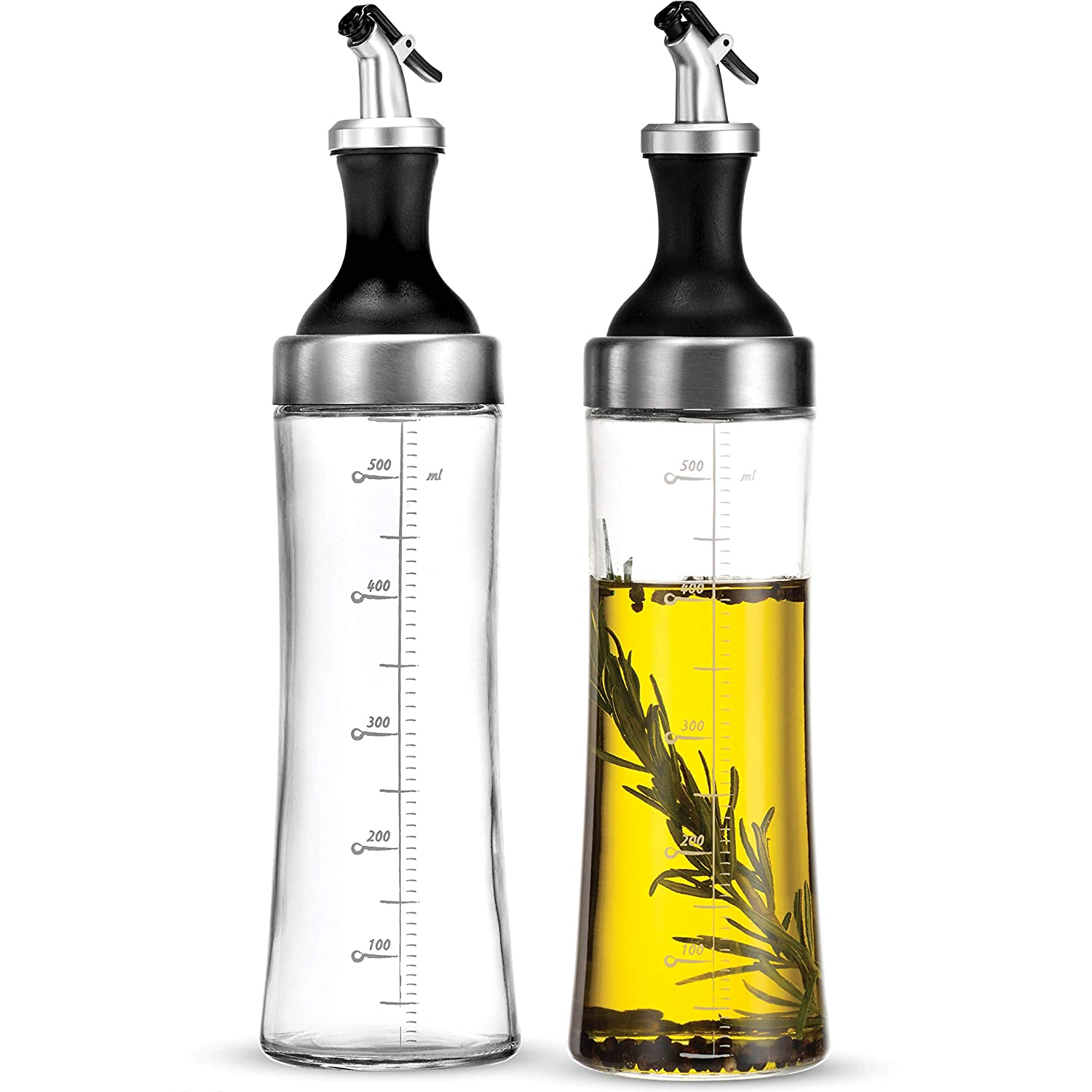 Superior Glass Oil and Vinegar Dispenser, (set of 2) Modern Olive Oil Dispenser, Wide Opening for Easy Refill and Cleaning, Clear Lead Free Glass Oil Bottle, BPA Free Pouring Spouts, 18 Oz. Cruet Set
