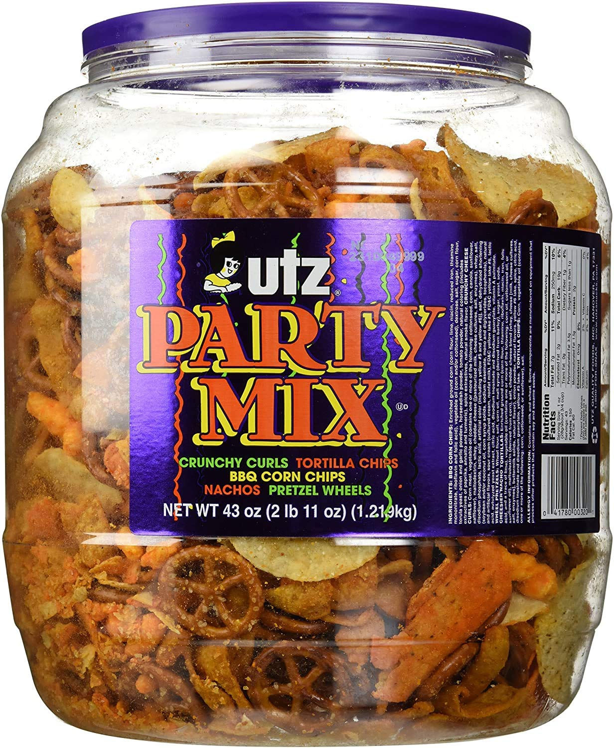 Utz Party Mix - 43 Ounce Barrel - Tasty Snack Mix Includes Corn Tortillas, Nacho Tortillas, Pretzels, BBQ Corn Chips and Cheese Curls, Easy and Quick Party Snack, Cholesterol Free and Trans-Fat Free