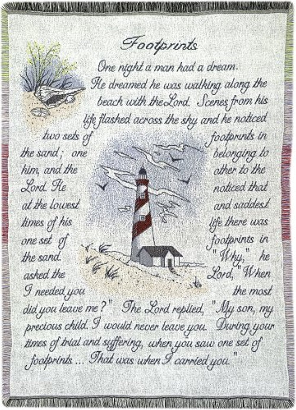 Manual 46 X 60-Inch Inspirational Collection 2.5-Layer Fringed Throw, Footprints