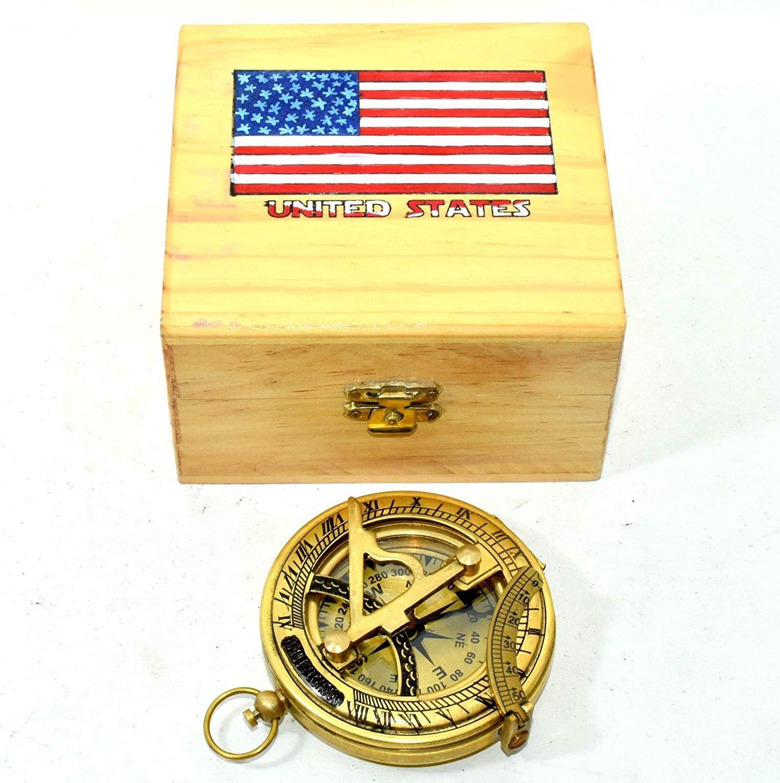 Hello Nauticals Store 純真鍮 プッシュボタン 方向サンダイヤルコンパス イエロー仕上げ サンダイヤルコンパス ボックス付き   B07CCGGB96