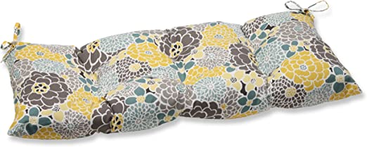 Pillow Perfect Indoor/Outdoor Full Bloom Swing/Bench Cushion,Blue,Medium