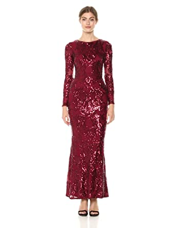 6156cad610 Betsy   Adam Women s Allover Sequin Mesh Dress with Long Sleeves at ...