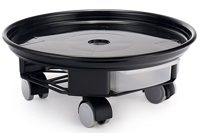 FUNNYGO Square Plant Saucer Caddy Plant Dolly with Omni Wheels and Removable Water Tray 3#, Black