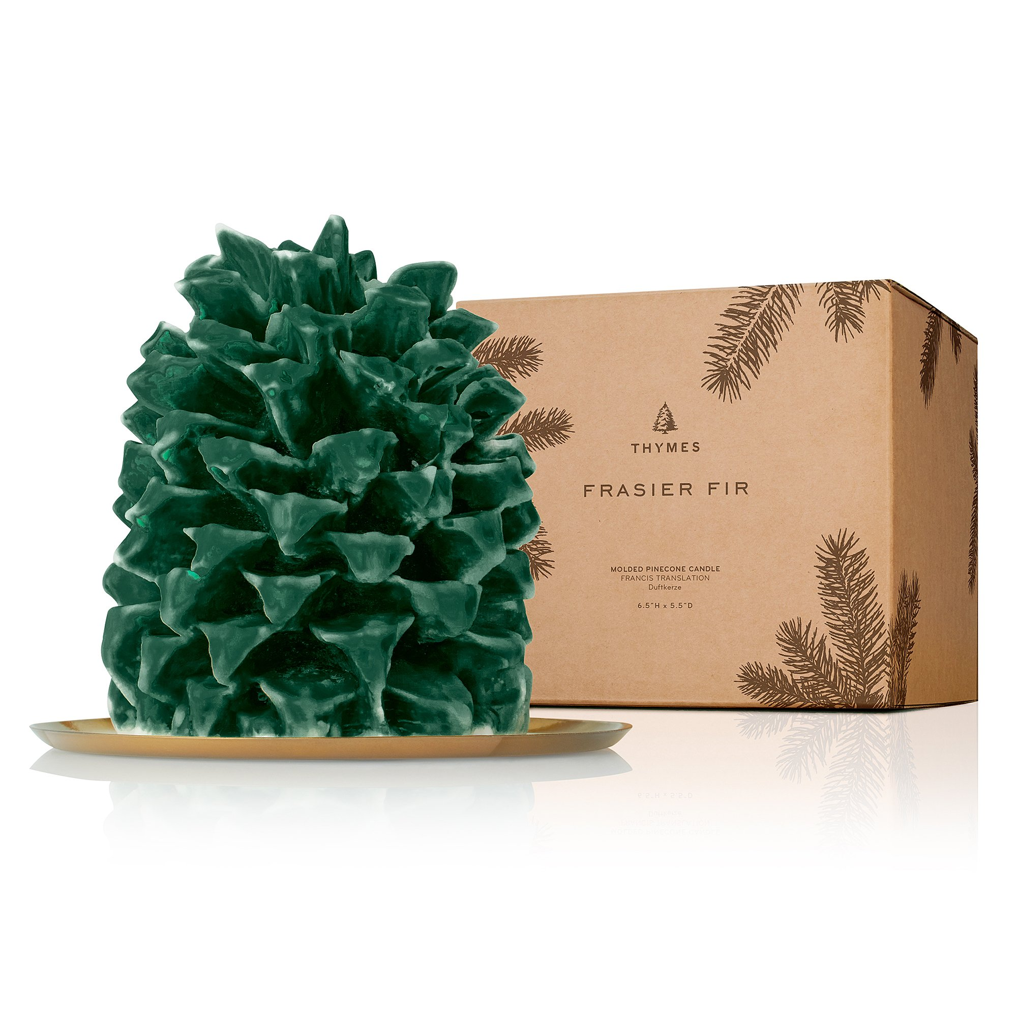 Thymes Frasier Fir - Northwoods Molded Pinecone Candle Large