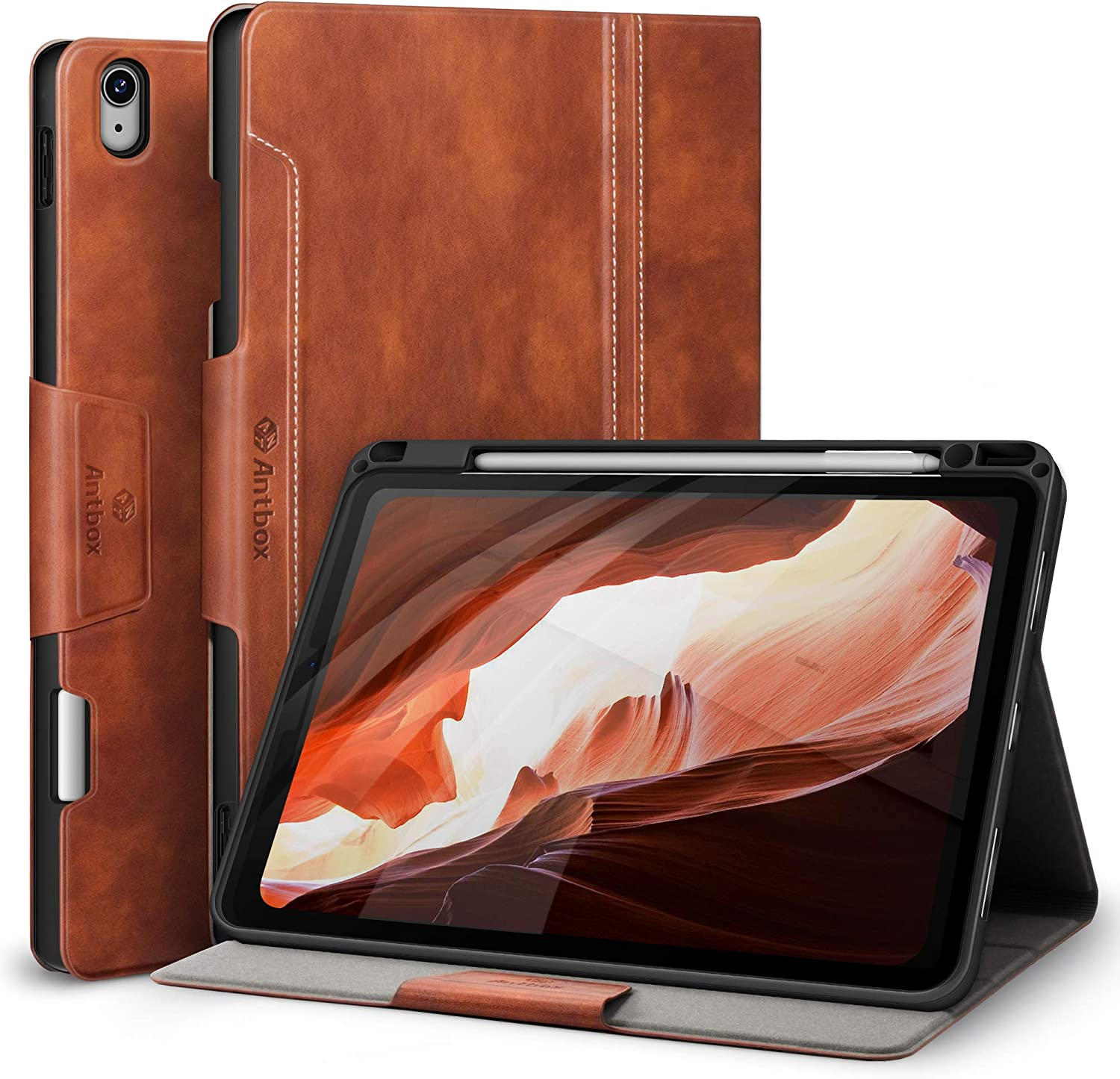 """Antbox Case for iPad Air 4 10.9"""" Case 2020 with Built-in Apple Pencil Holder [Support 2nd Gen Apple Pencil Charging] Stand Cover (Brown)"""