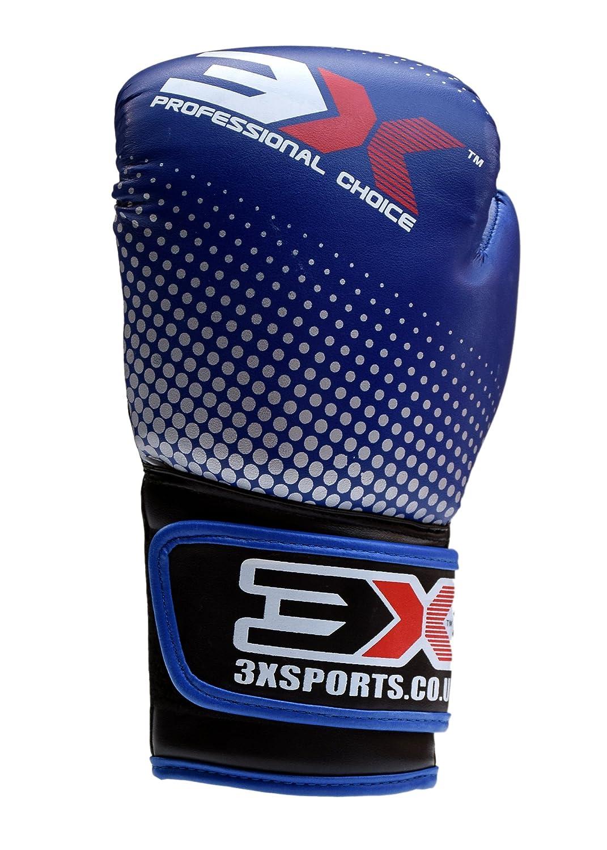 Niños guantes de boxeo Muay Thai Kick Boxing MMA UFC Gel acolchado guantes Junior artes marciales formación Pro piel guantes niños Sparring 4oz 6oz, azul / blanco 3x professional choice