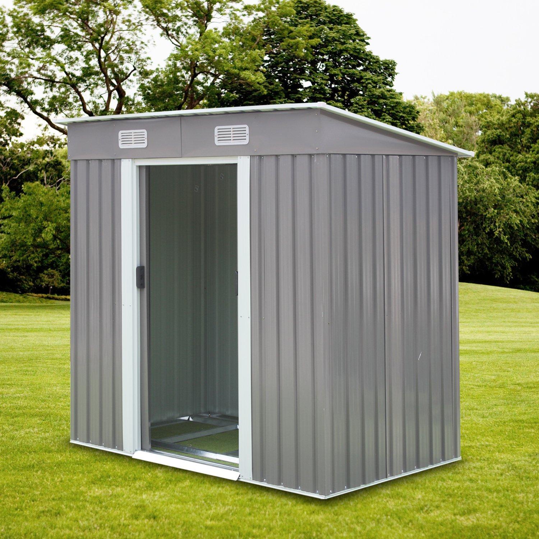Kinbor 6' x 4' Outdoor Steel Garden Storage Utility Tool Shed Backyard Lawn Tool House Garage Kit Building w/Door (Gray)