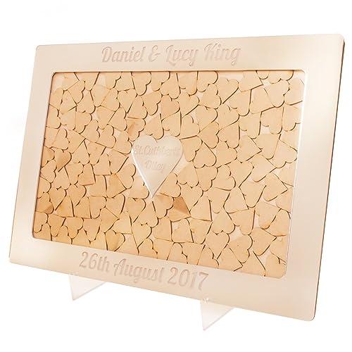 Caja de espejo plateado de buzón para regalos de boda personalizada con marco de corazones