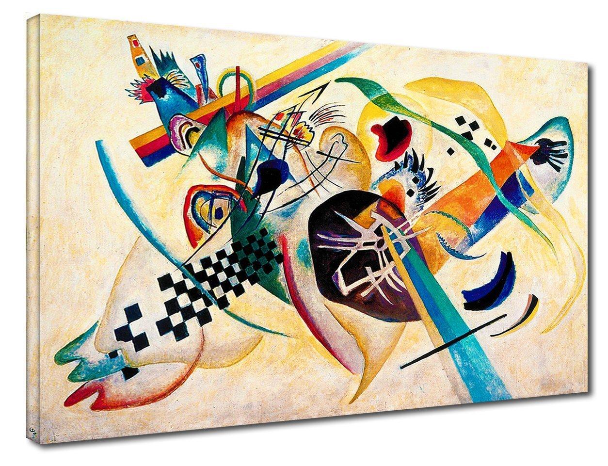 White composition Quadro Kandinsky Composizione su Bianco stampa su tela canvas con o senza telaio CM 130X90, QUADRO CON TELAIO IN LEGNO
