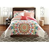 Teen Girls Queen Rainbow Unique Prism Pink Blue Green Colorful Patten Bedding Set (8 Piece Bed in a Bag) by Mainstays