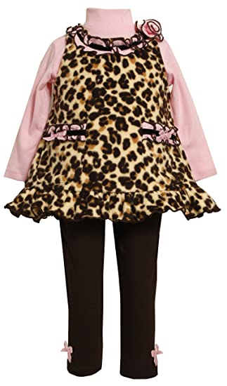 c2bdc46b2cd17 Bonnie Baby Girls' Leopard Print Fleece Legging Set, Brown, 18 Months