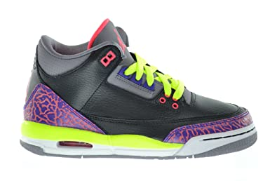b5448431332553 Amazon.com  Jordan Girls Air 3 Retro Big Kids Sneakers Black Atomic Red-Cement  Grey-Violet 441140-039-7  Shoes