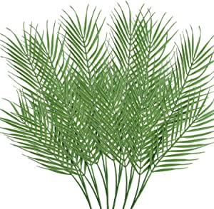 18 Leaves Artificial Palm Leaves 6 Pack Faux Plants Fake Plants Palm Leaf Greenery Tropical Palm Tree Leaves for Palm Wedding Arrangement Jungle Party Decorations