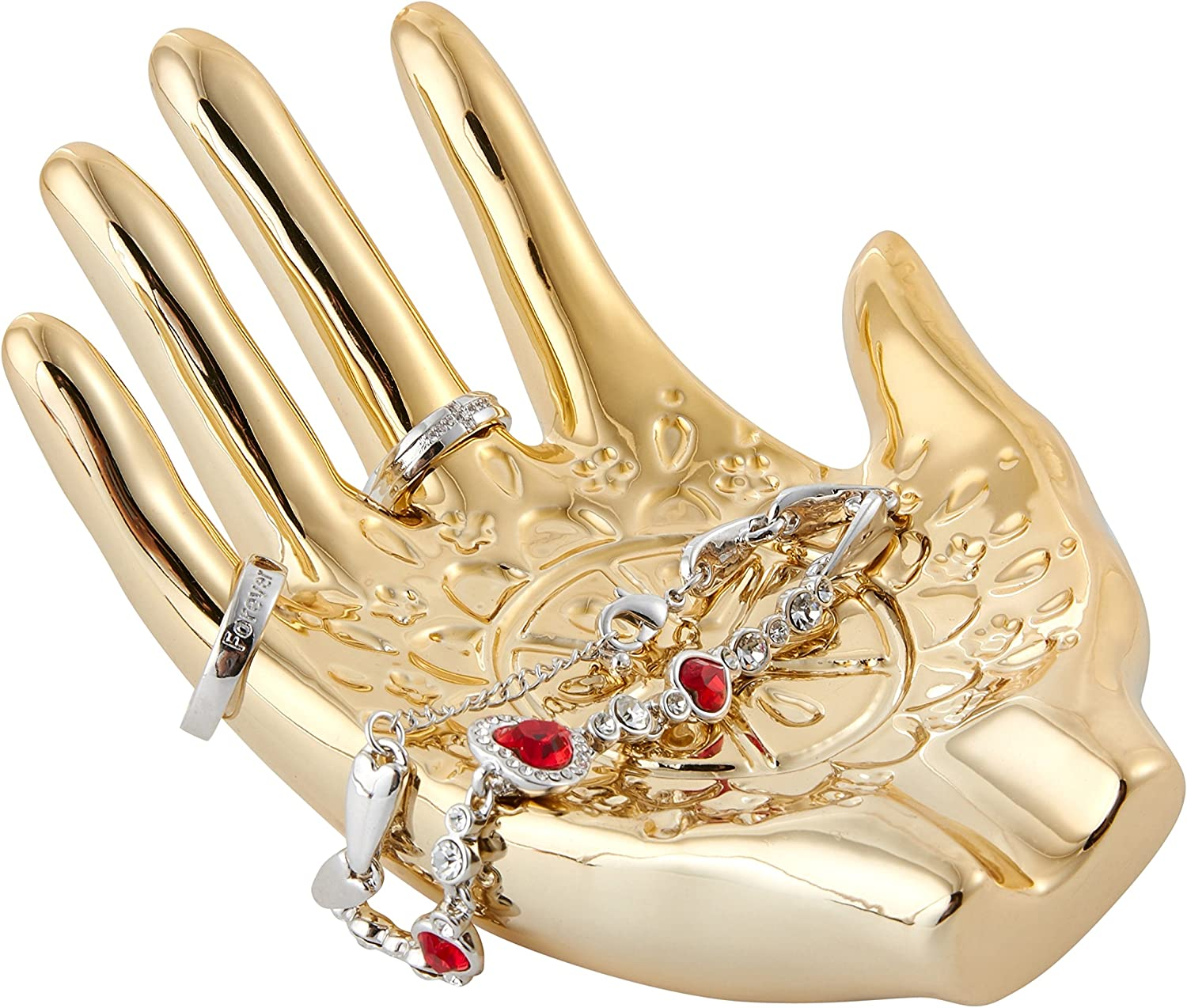 Size 148 x 110 x 60mm//5.83 x 4.33 x 2.36in Jojuno Gold Plated Ceramic Embossed Hamsa Hand for Ring and Jewelry Holder