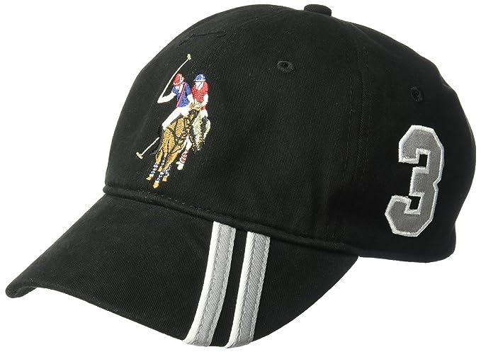 U.S. Polo Assn. Mens Polo Horse Baseball Cap, Diagonal Stripe Applique Visor, Black