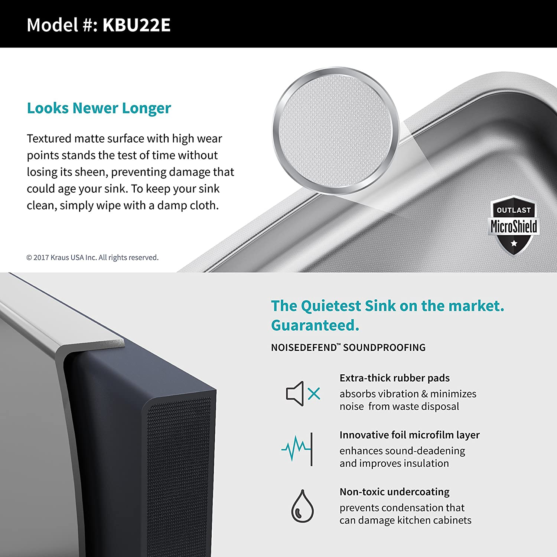Kraus kbu22e-1630 - 42 CH Combo con Outlast Microshield montaje bajo encimera acero inoxidable 32 pulgadas 50/50 doble cuenco Real 16 Calibre fregadero y ...