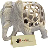 SouvNear Impossible Stone Art – 5 Inch Handmade Soapstone Collectible Figurine Sculpture of Mother Elephant with Baby Inside - Unique Baby Shower Decorations Elephant Decor Statue from India