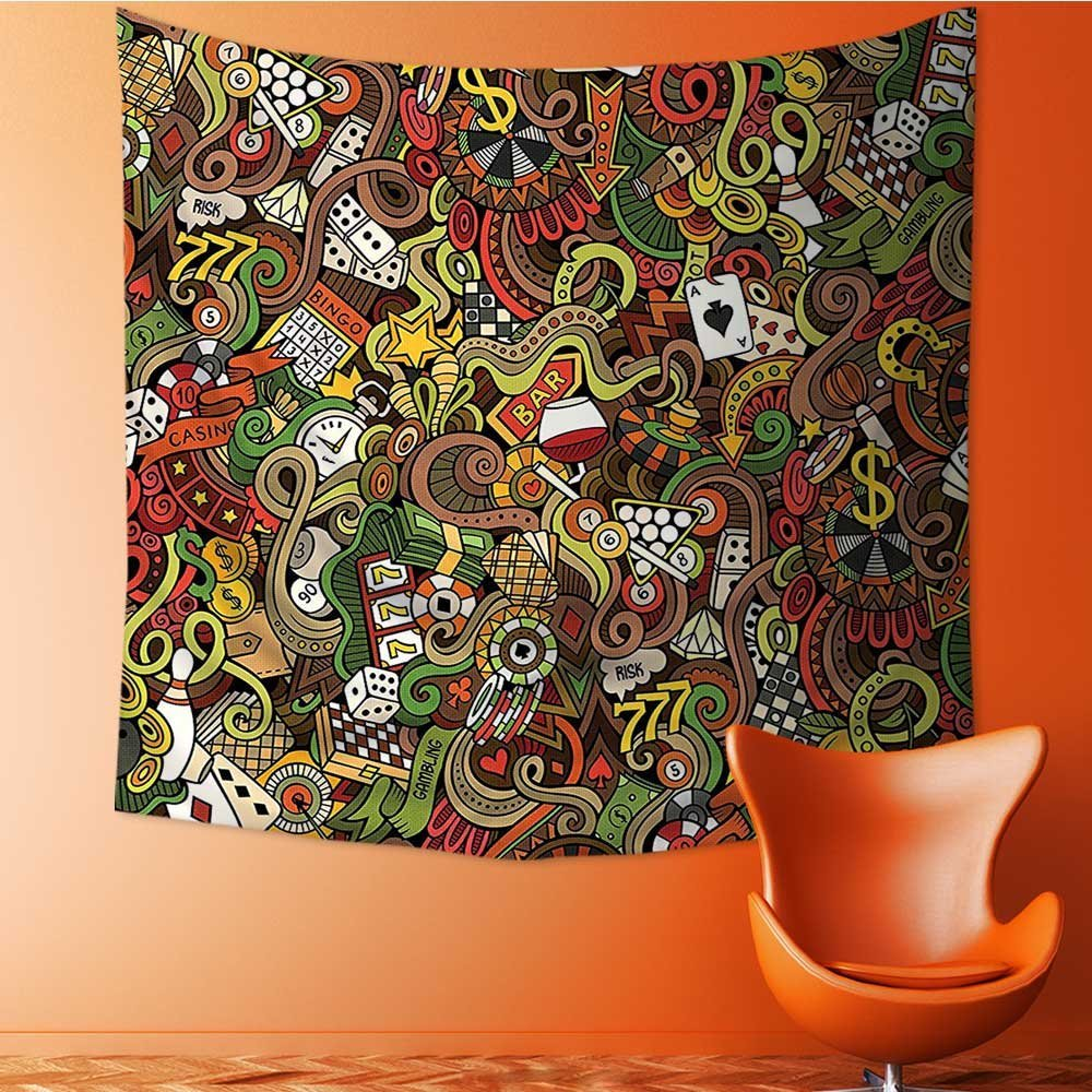 Analisahome Wall Tapestry Doodles Style Art Bingo Excitement Checkers King Tambourine Vegas Room Dorm Accessories Wall Hanging Tapestry/35.4W x 35.4L INCH