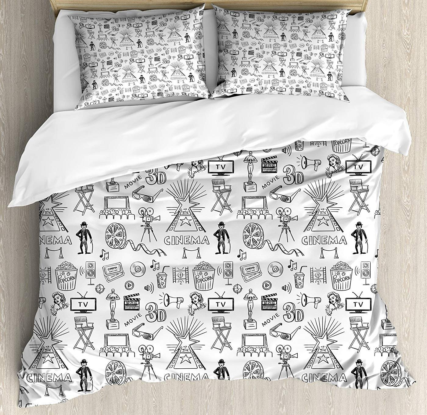 4 Piece Bedding Set Twin Size, Movie TheaterHand Drawn Style Cinema Pattern with Various Different Icons Black and White Floral,Duvet Cover Set Quilt Bedspread for Childrens/Kids/Teens/Adults