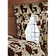 20 Lakes 5 Piece Rodeo Cow Print Curtain Drapes/Panels, Valance, Tie Backs Set