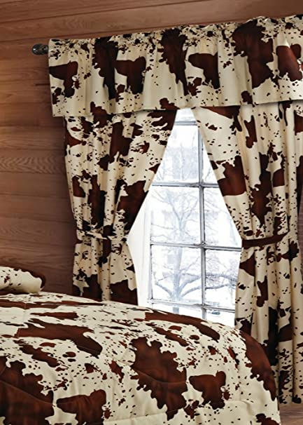 20 Lakes 5 Piece Rodeo Cow Print Curtain Drapes / Panels, Valance, U0026 Tie