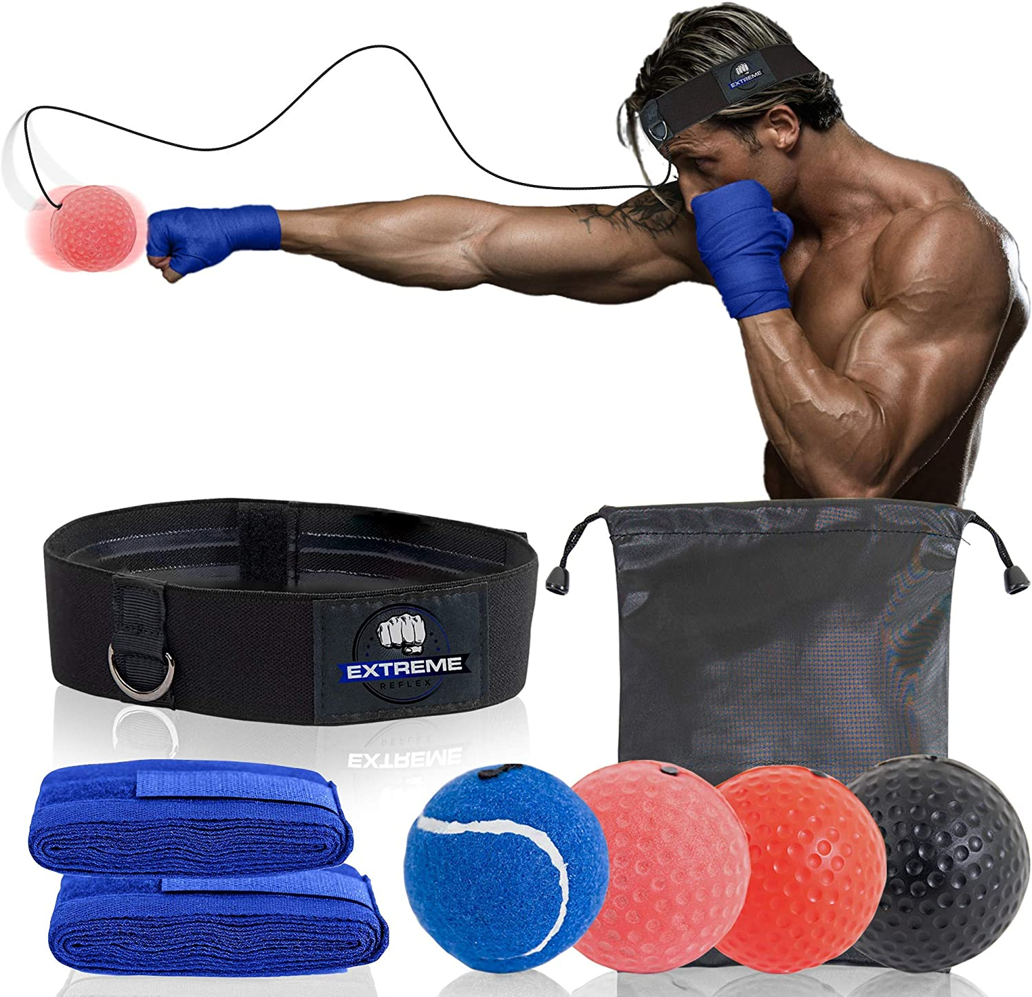 Extreme Reflex Boxing Reflex Ball Set - MMA Boxing Reflex Ball - Boxing Equipment Fight Speed, Boxing Punching Ball Great for Reaction Speed and Hand Eye Coordination Training Reflex Bag Alternative : Sports & Outdoors