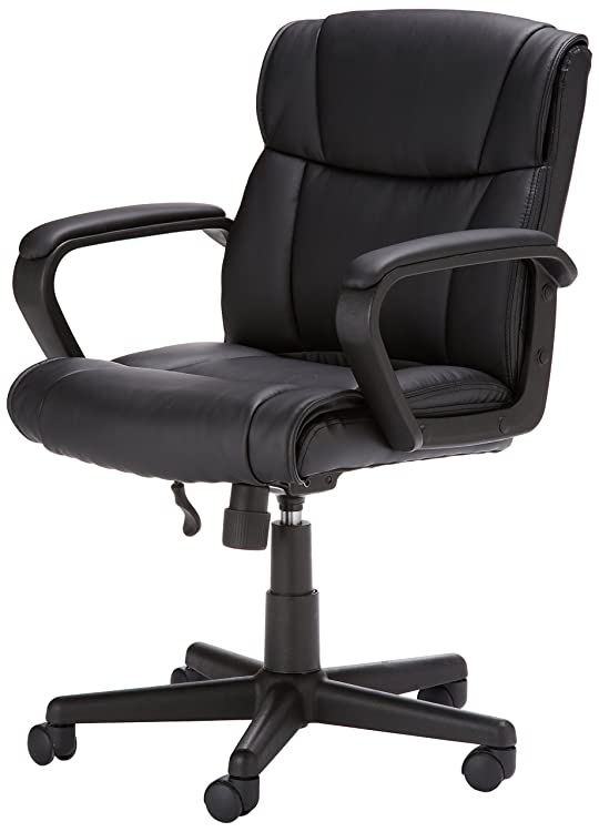 AmazonBasics Chair - Pneumatic seat-height adjustment; dual-wheel casters