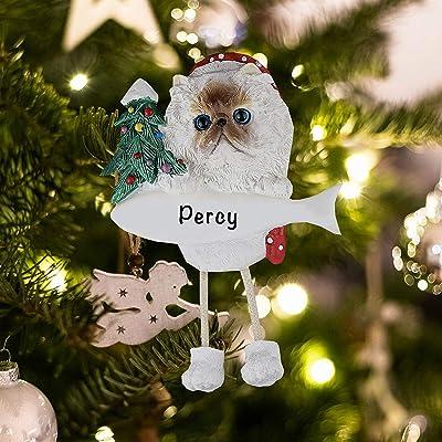 Christmas Ornament Siamese Cats Santa Hat Holidays Tree Kitty Holiday