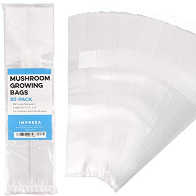 "Impresa Products 50-Pack Mushroom Growing Bags Mushroom Spawn Bags, Extra Thick 6 Mil Bags, Large Size 6"" X 5"" X 20"" 0.2 Micron Filter Breathable, Autoclavable Bags That Stand Up : Garden & Outdoor"