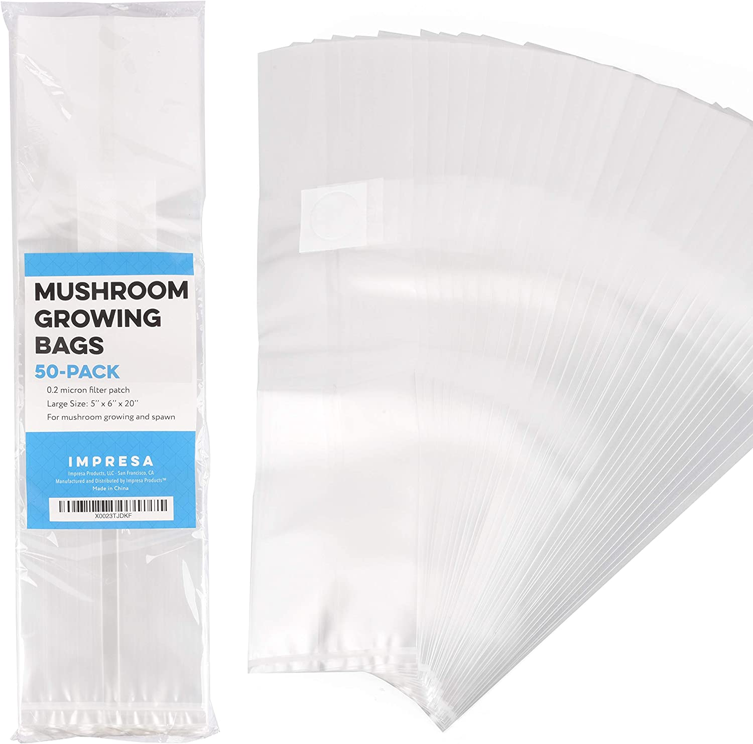 Impresa Products 50-Pack Mushroom Growing Bags Mushroom Spawn Bags, Extra Thick 6 Mil Bags, Large Size 6 X 5 X 20 0.2 Micron Filter Breathable, Autoclavable Bags That Stand Up