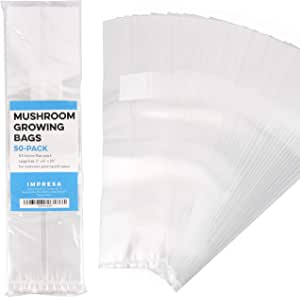"""Impresa Products 50-Pack Mushroom Growing Bags Mushroom Spawn Bags, Extra Thick 6 Mil Bags, Large Size 6"""" X 5"""" X 20"""" 0.2 Micron Filter Breathable, Autoclavable Bags That Stand Up"""